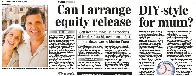 Laterlivingnow! - Sunday Express, January 2008, 'Equity release and inheritance'
