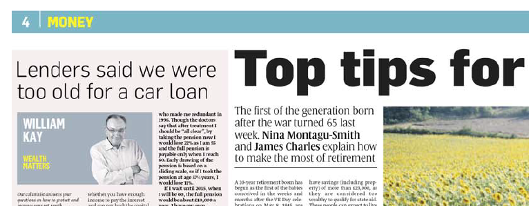 Laterlivingnow! - The Sunday Times, December 2008, 'Lenders said we were too old for a car loan'